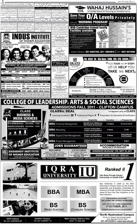 Mba In Iqra In Karachi by Admission In Pakistan Iqra Karachi Admission 2011