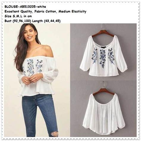 Baju Blouse Sabrina Polka jual baju sabrina putih bunga white blouse shoulder wanita korea import amelie butik