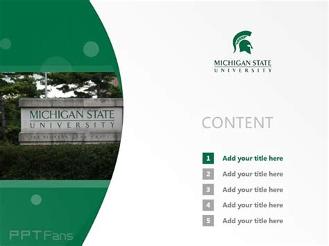 Michigan State University Powerpoint Template Download 密歇根州立大学ppt模板下载 Michigan State Powerpoint Template