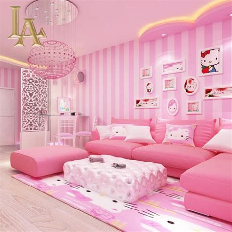 wallpaper anak pink cozy ruang anak anak biru pink striped desain wallpaper
