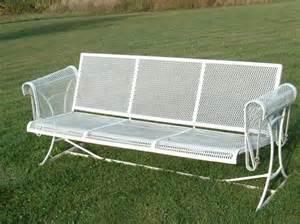 vintage wrought iron mesh patio furniture swinging glider