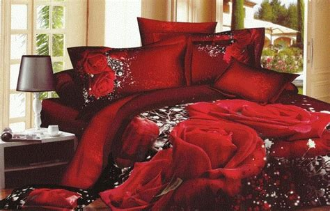 Red Rose White Sparkled Queen Size Comforter Set With
