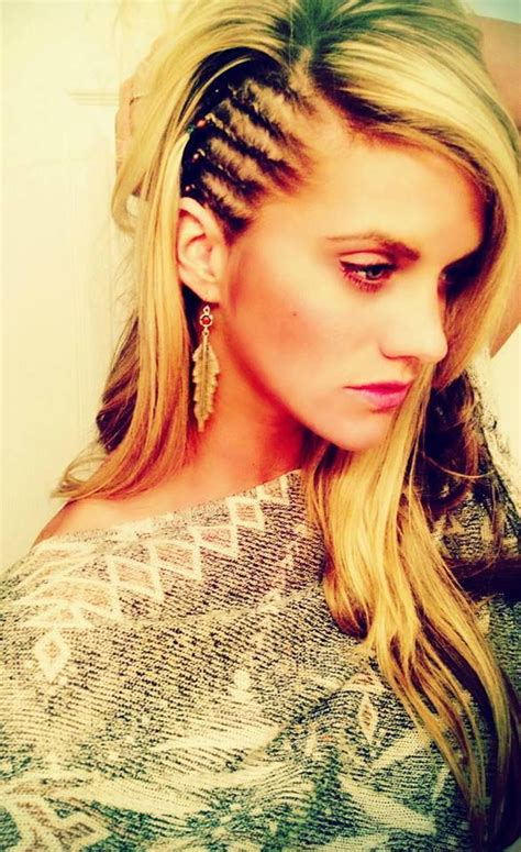 pictures of corn braids coming from the side white girl cornrows edgy shaved head look minus the head