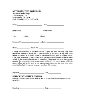 Authorization Repair Form   Fill Online, Printable