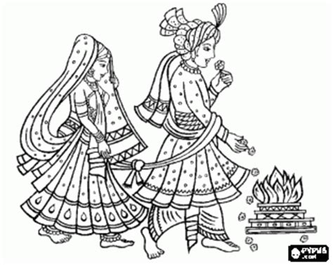 indian bride coloring page the bride and groom at the wedding or marriage following