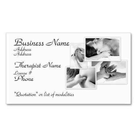 business card template therapy therapist black white on white business card