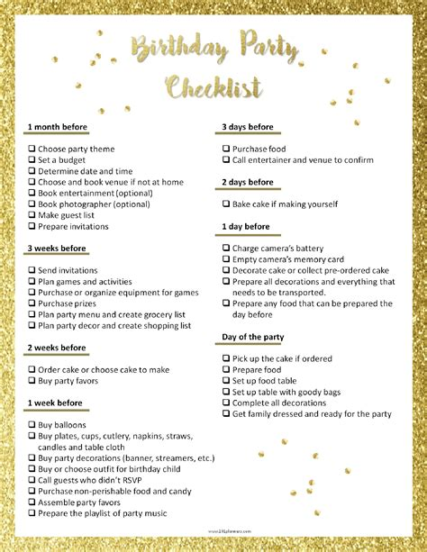 birthday checklist template planning template