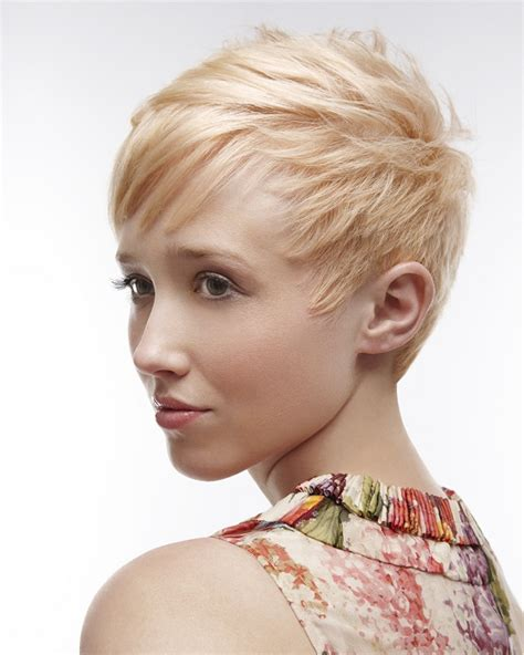 womens bush cut a short blonde hairstyle from the kjm salons collection
