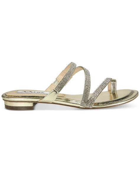 Flat Evening Shoes by Kaileen Flat Evening Sandals In Gold Lyst
