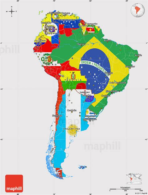 south america map free flag map of south america