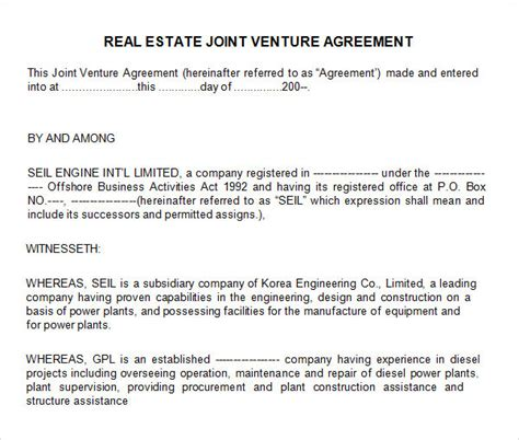 real estate partnership agreement template sle joint venture 9 free documents in pdf word
