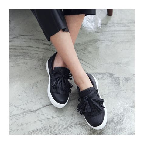 Exclusive Slip On Ribbon Slip On Loafers Black Hitam s synthetic leather toe fringe ribbon side elastic slip on loafers