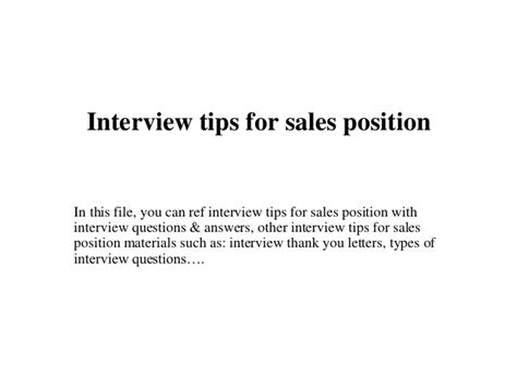 tips for sales position