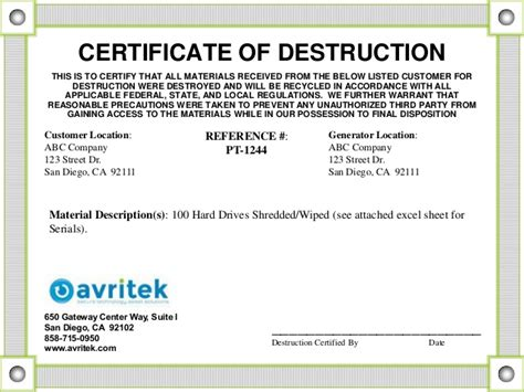 certificate of recycling template data sanitization and disposal best practices