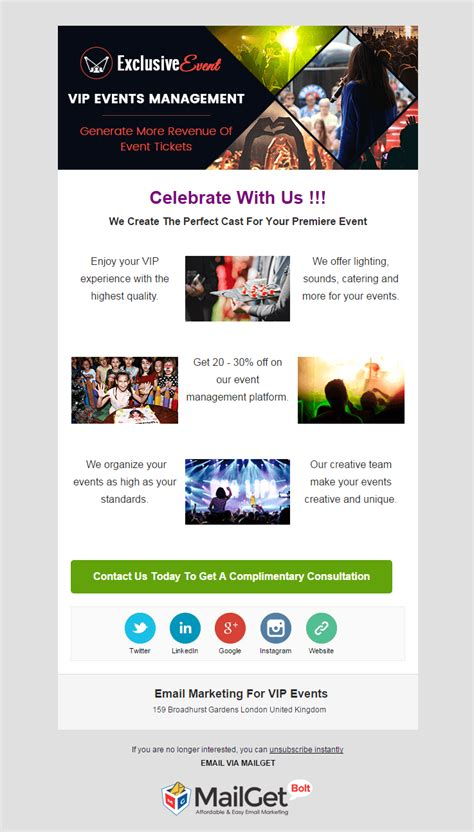 Email Marketing 12 Best Event Email Templates 2018 Formget Marketing Email Template Sle