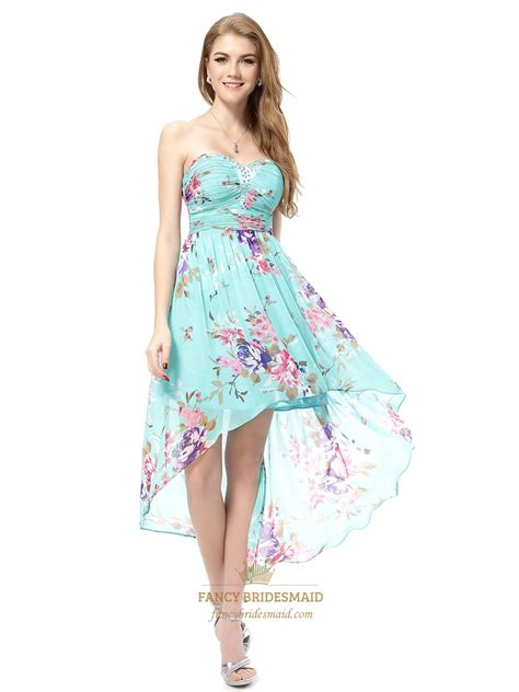 Dress Flower floral high low prom dresses aqua blue floral dress