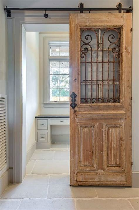 reclaimed wood office door on rails design ideas