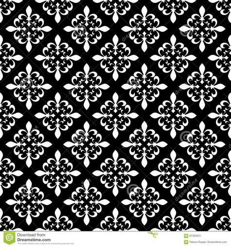 black and white french pattern fleur de lis seamless vector pattern french vector