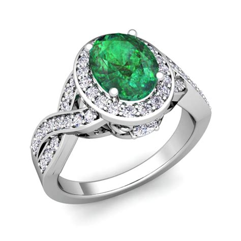 infinity and emerald engagement ring in 18k gold