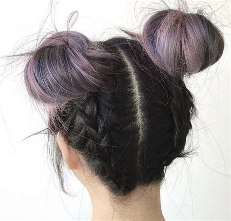 black hair styles to wear when your hair is growing out space buns are the only way to wear your hair this