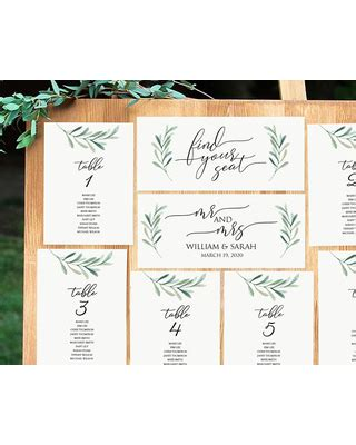 table assignment cards templates deals on greenery seating chart printable seating cards