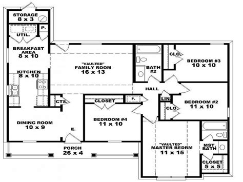 One Floor Home Plans 5 One Story 4 Bedroom House Plans Single Story Open Floor Plans Luxamcc