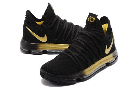 2017 nike kd 10 x ep in black gold basketball shoes new