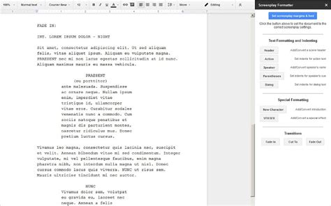 docs script template screenplay formatter docs add on