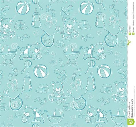 pattern cute blue seamless pattern cute baby blue items stock photo