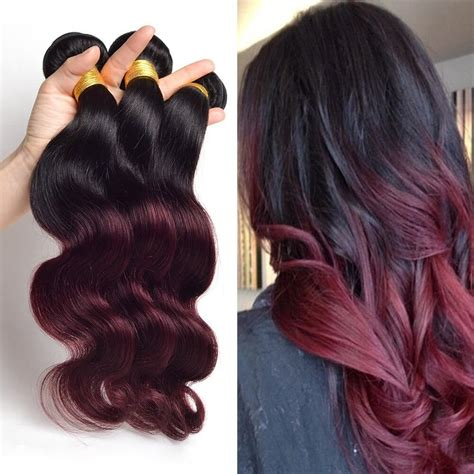 colored ombre hair wave ombre hair two tone colored 1b 99j 100