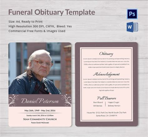 sle funeral obituary template 11 documents in pdf
