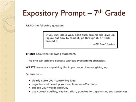 7th grade essay sles understanding the essay and rubric ppt