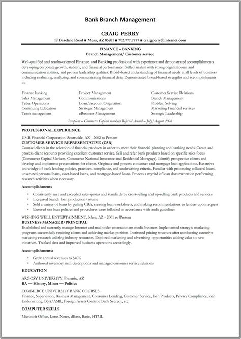 resume sle for banking operations bank manager resume template learnhowtoloseweight net