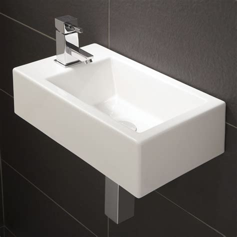 Modern Sinks For Small Bathrooms - hib rialto metro cloakroom wall mount wash basin 1 tap hole w440 x d250mm