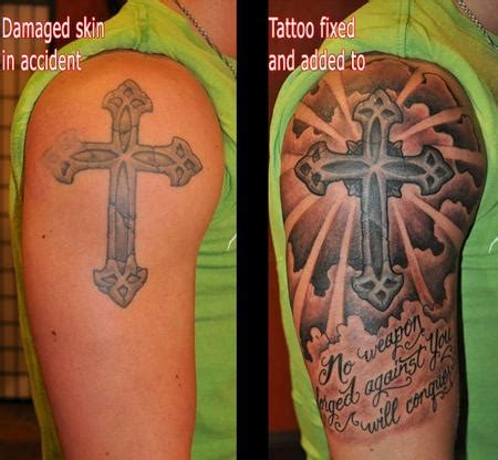 tattoo cover up of a cross depiction tattoo gallery tattoos coverup cross fix