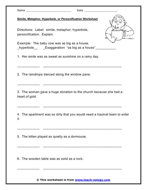 Personification Worksheets by Simile And Metaphor Worksheets Worksheets For School Dropwin