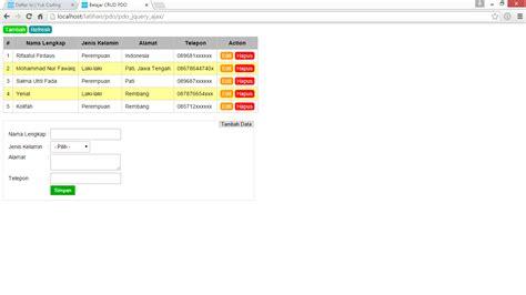 tutorial php dan jquery membuat tambah til data dengan php pdo jquery ajax