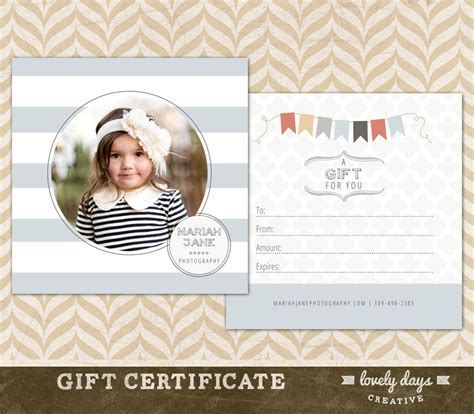 free photoshop templates for gift certificates free photography gift certificate template psd joy