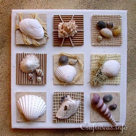 craft projects using seashells summer seashells craft canvas with seashell inchies