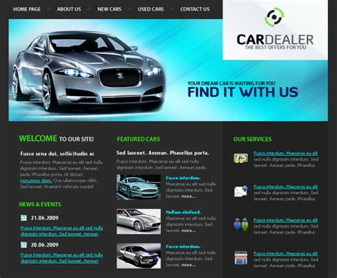 Web Design Blog 187 Free Xhtml Css Templates For Different Websites Car Dealer Website Template