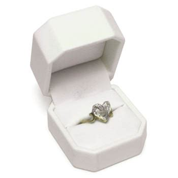 leatherette ring box white
