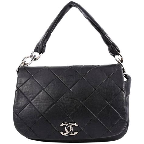 Chanel Calfskin Logo Flap Bag by Chanel Flap Messenger Bag Quilted Calfskin Medium For Sale