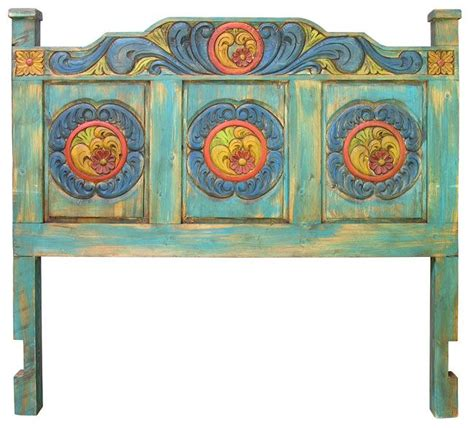 carved painted wood headboard available in queen and