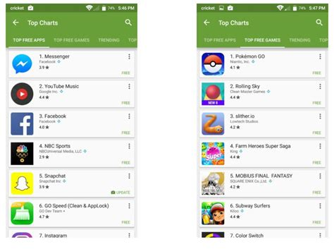 Play Store Charts Play Store Finally Offers Different Apps And