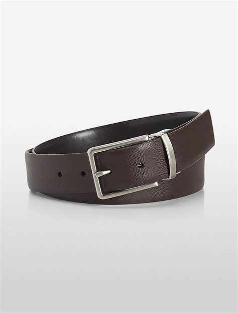 calvin klein mens reversible ck logo saffiano leather belt