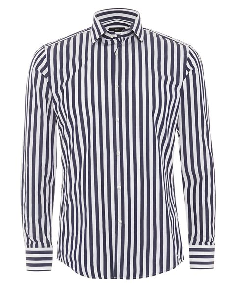 Navy Stripe Vertical Shirt hugo classic mens dwayne shirt slim fit navy