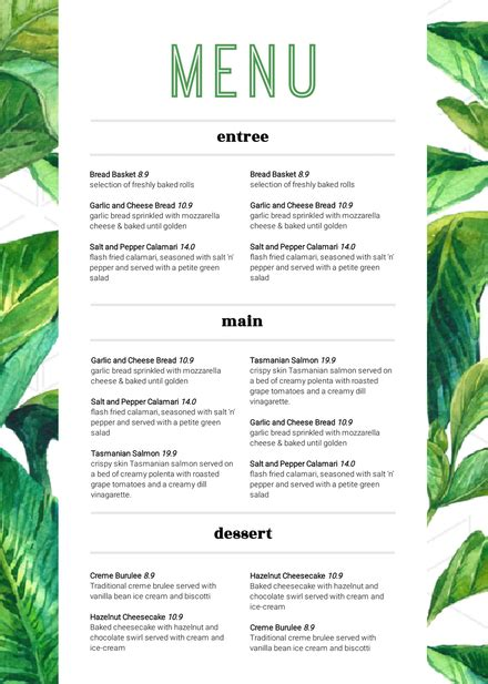 Green And White Tropical Leaves Customizable Menu Template Tropical Menu Template Free