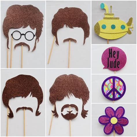 printable hippie photo booth props beatles party photo booth props 70 s rock and roll photo