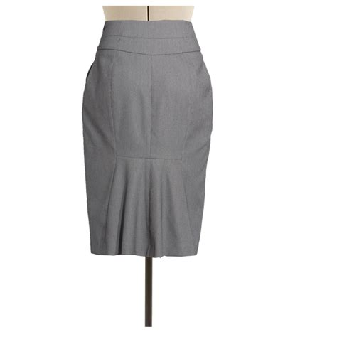 grey high waisted wool blend pencil skirt custom fit