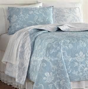 Toile Bedding Sets Blue Eliza Lace Blue Quilt Set Cottage White Toile